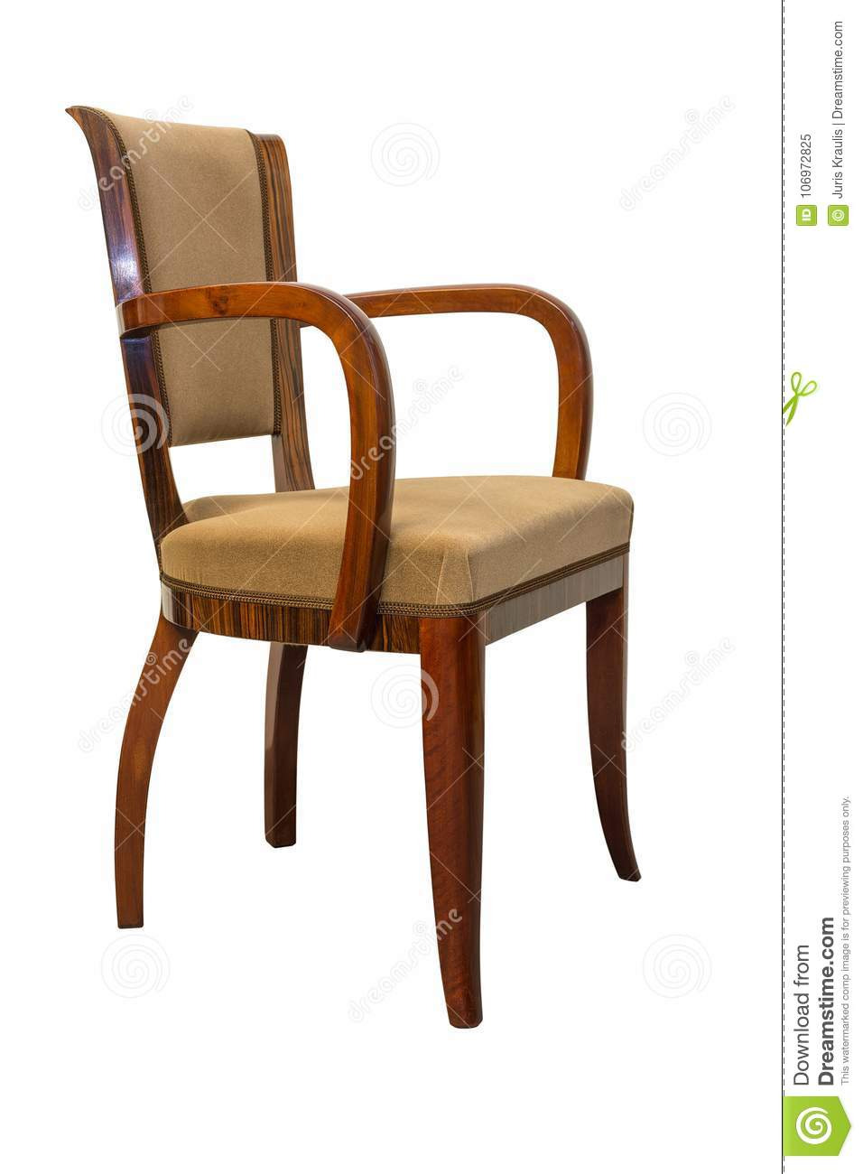 vintage art deco chair isolated white background vintage art deco antique chair isolated white background