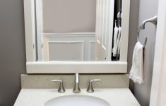 Bathroom Vanities Laval Lovely Gray Powder Room With White Vanity And Crystal Palace Quartz