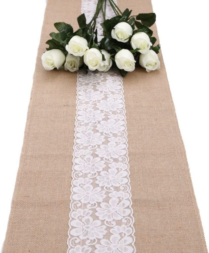 Burlap Table Runner with Lace Trim 2020