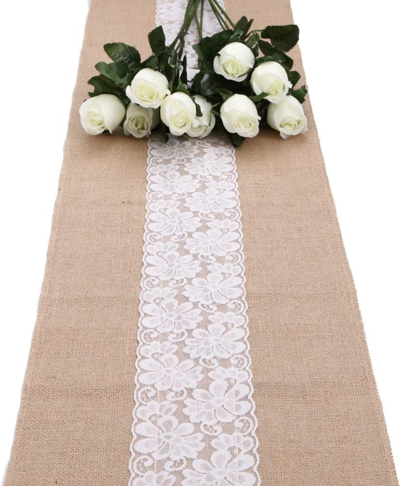 Burlap Table Runner with Lace Trim Elegant Longble Natural Burlap Table Runner White Chic Flower Lace Jute Hessian Crafts Tablecloth for Country Rustic Wedding Party Christmas Decorations