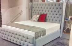 Chesterfield Fabric Sleigh Bed With Footboard Lovely Sleigh Beds Mattress And Ottoman Storage Box In Dewsbury Für