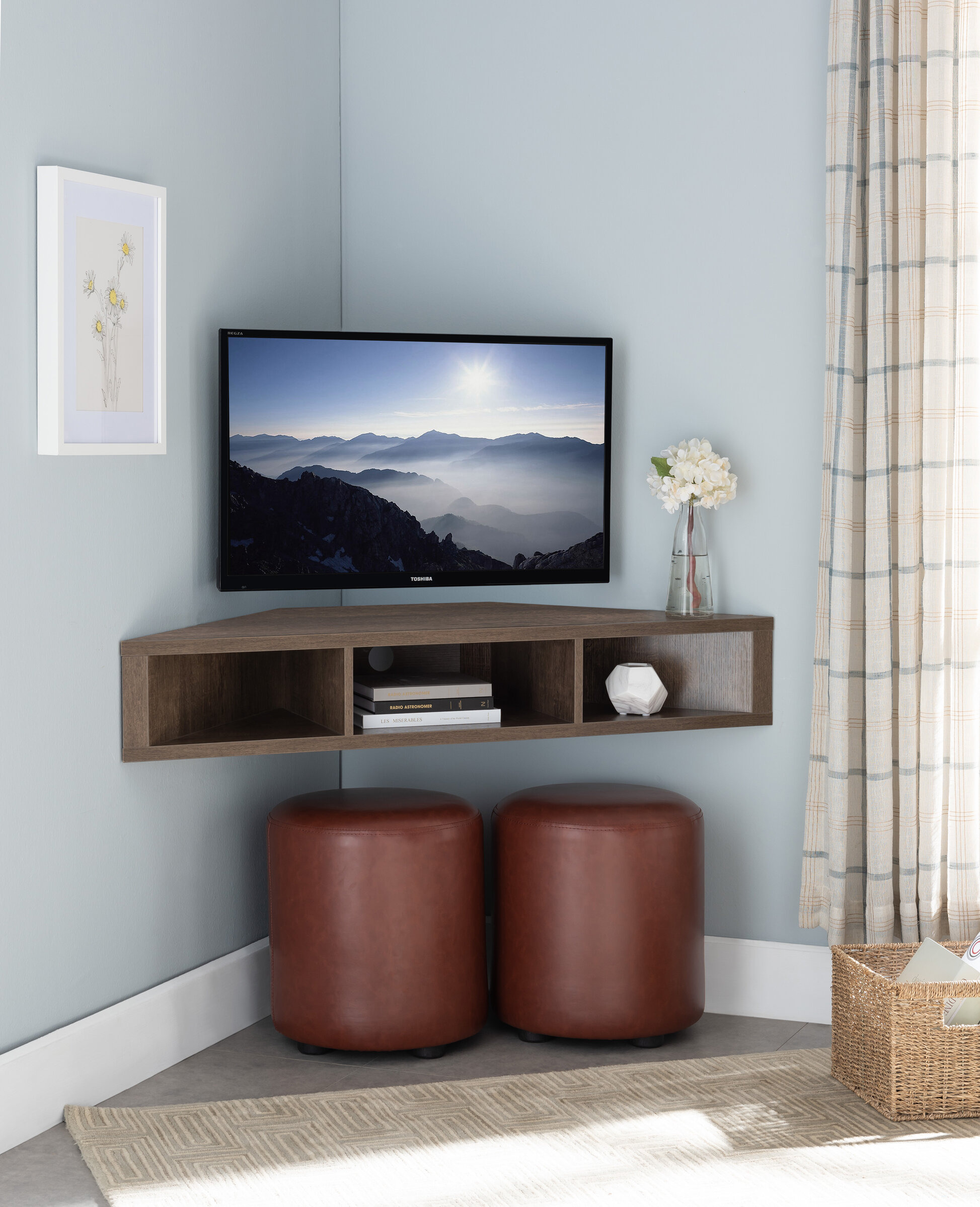 ebern designs french floating corner tv stand for tvs up to 55 w