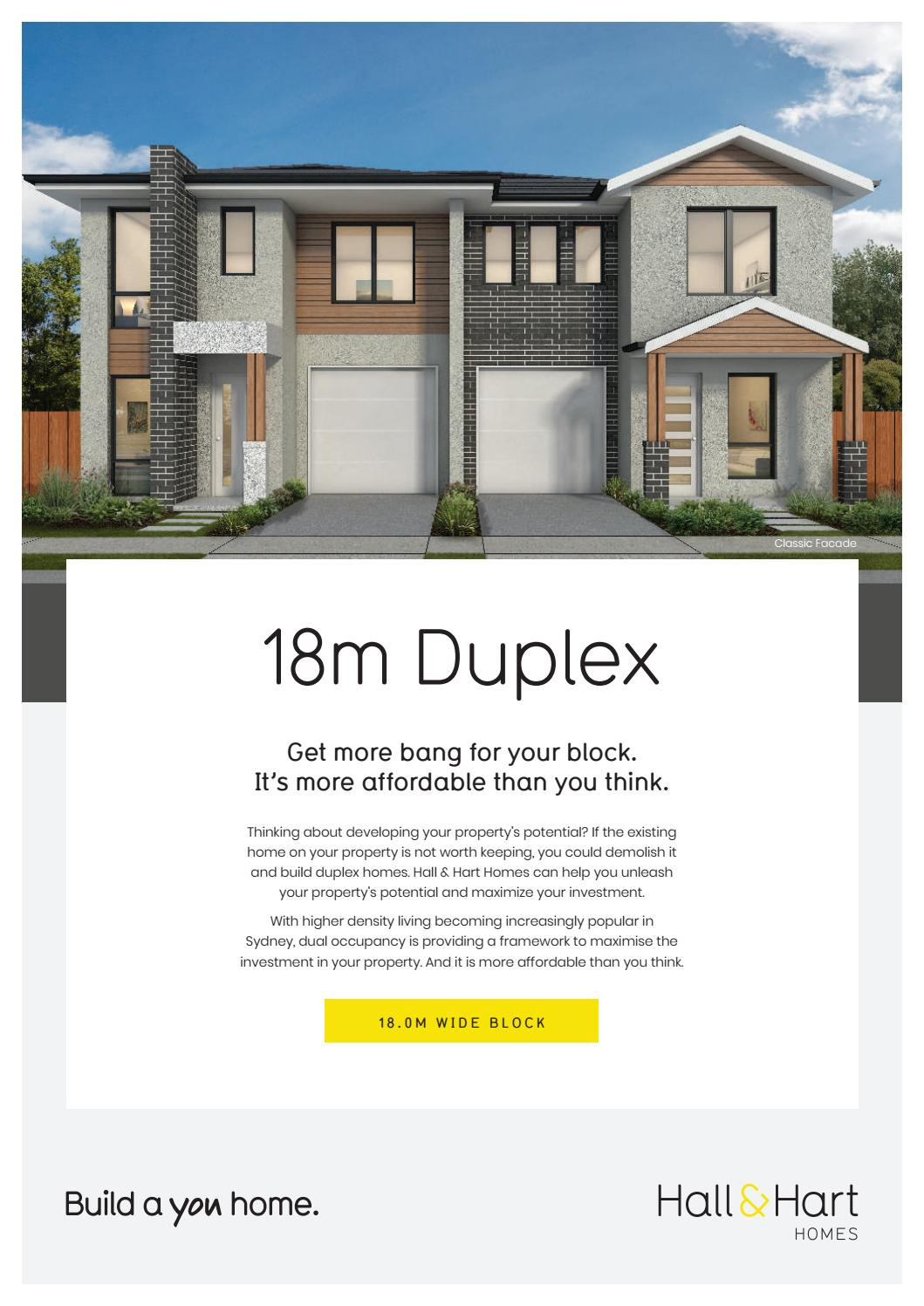 Cost to Build A Duplex House Lovely Hall & Hart Homes 18m Duplex Brochure by Hallharthomes issuu