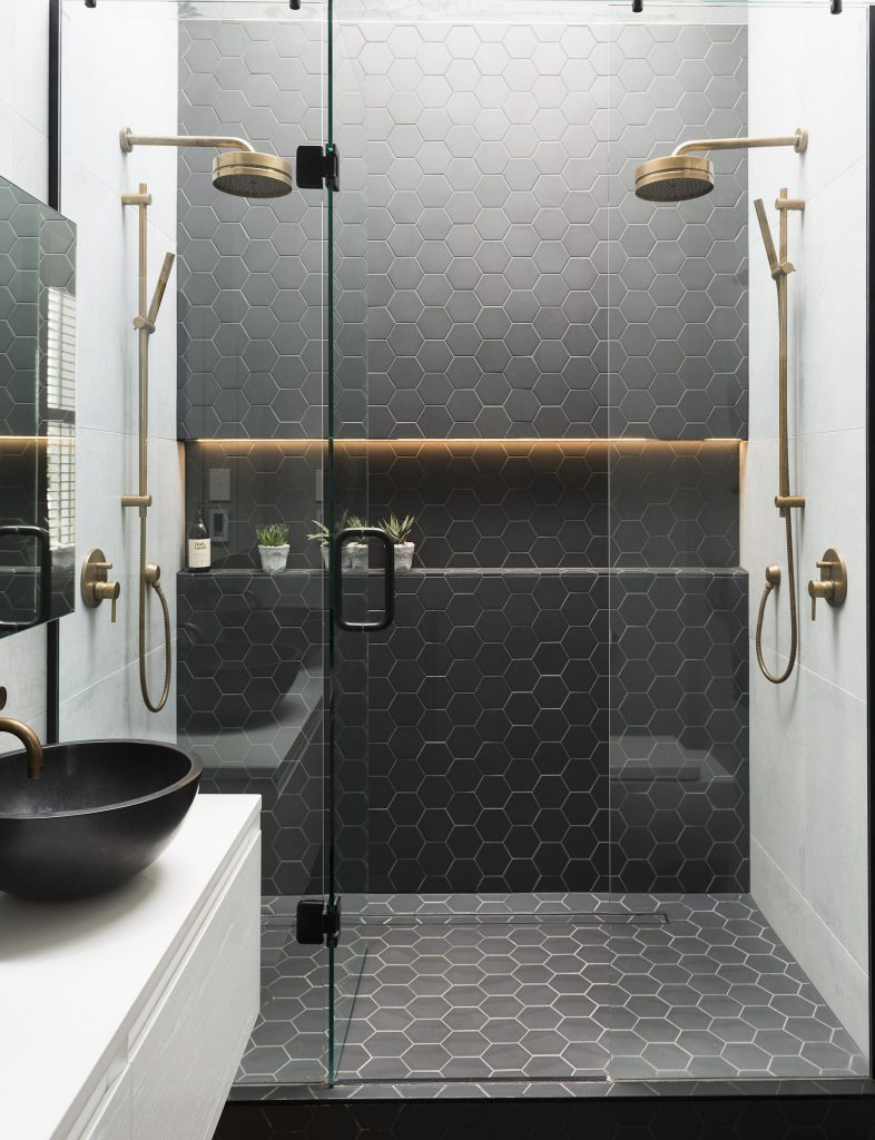 Black Honey b Tiles Brass Fixtures 786x1024