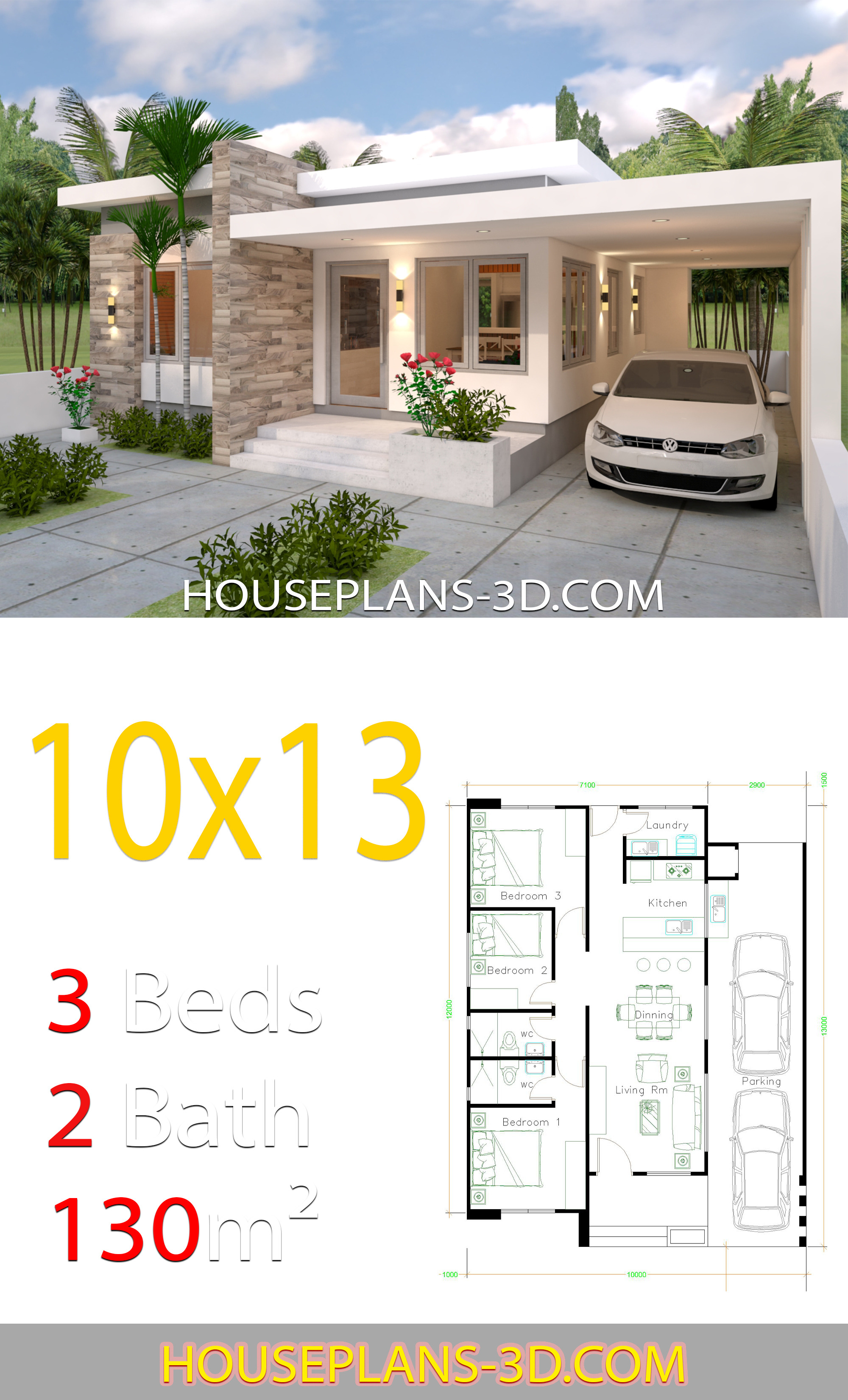 house design 10x13 with 3 bedrooms full plans