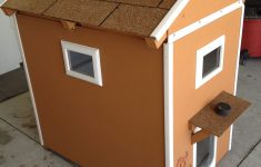 Dog House Plans With Hinged Roof Awesome Two Story Dog House With Hinged Roof Windows Carpeted