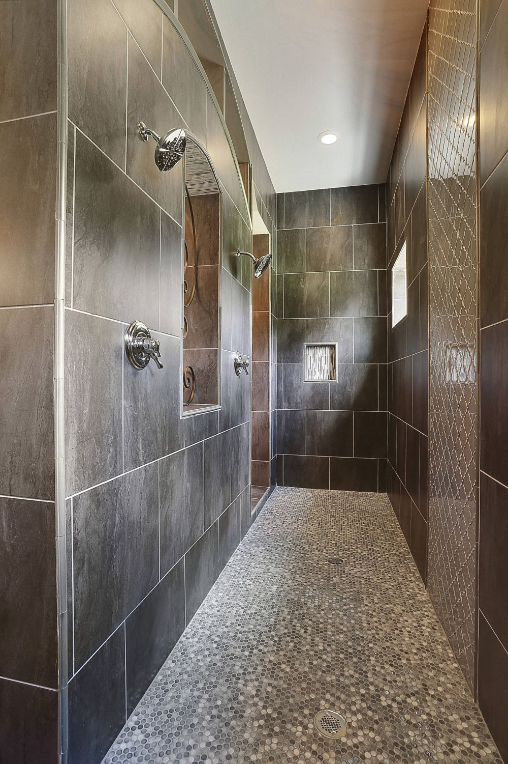 Traditional walk in shower with double shower head