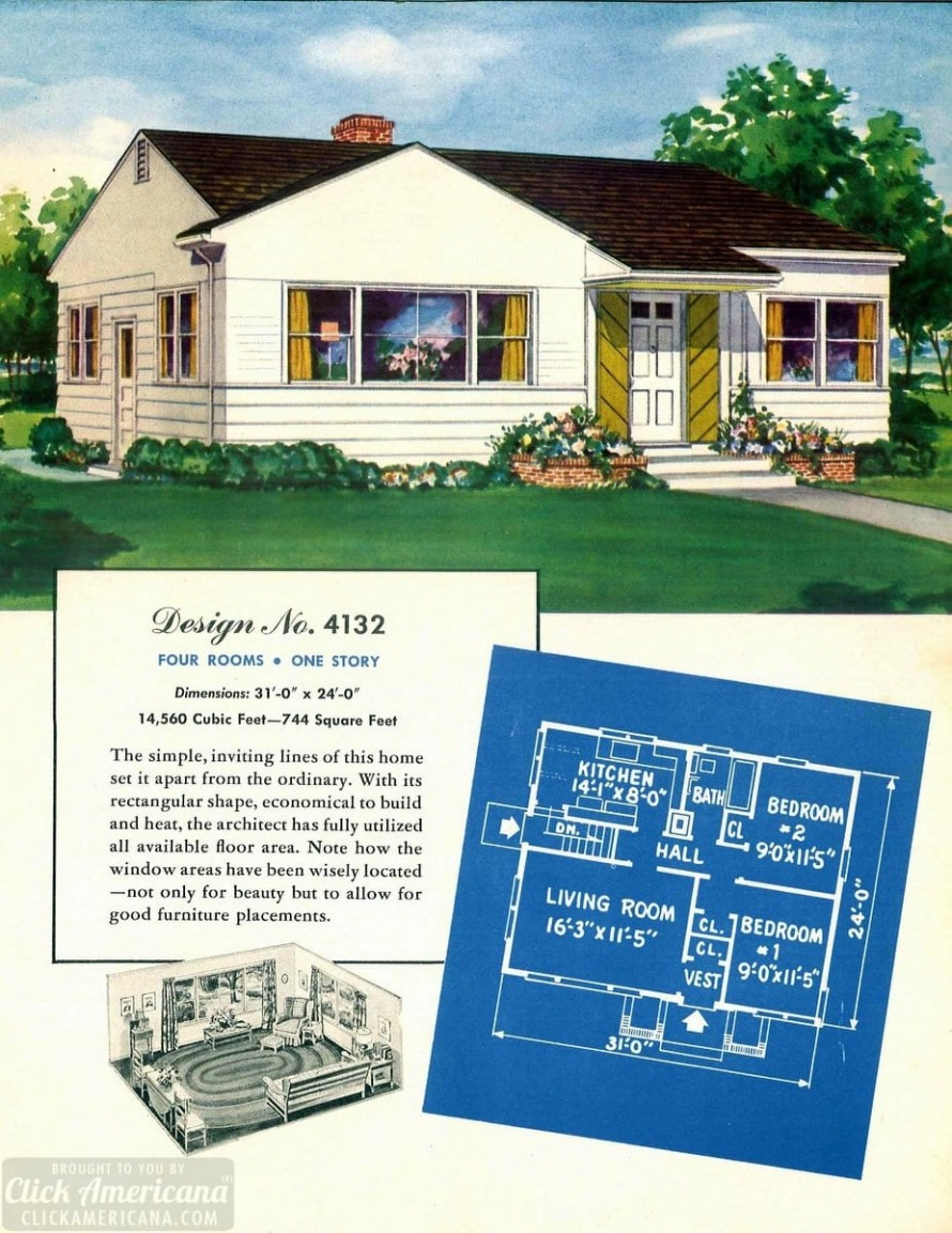 see 110 vintage 50s house plans to build millions of mid century homes