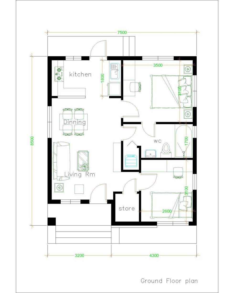 small house plans 7 5x8 5m with 2 bedrooms gable roof