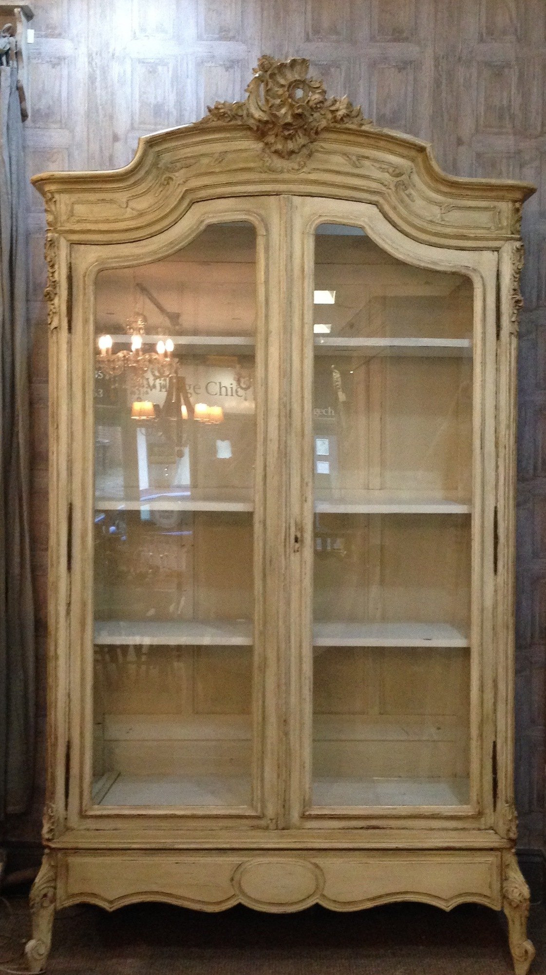 prod French Antique Armoire Vitrine Painted Louis XV