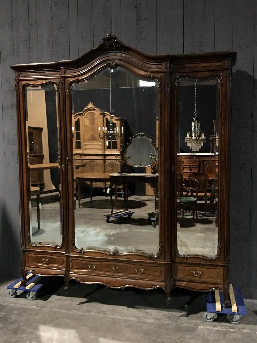 3 doors rosewood louis xv french armoire max