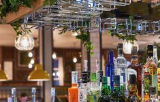 Hanging Glass Racks For Restaurants Lovely Back Bar Bottle Display Timber And Planting With Stainless