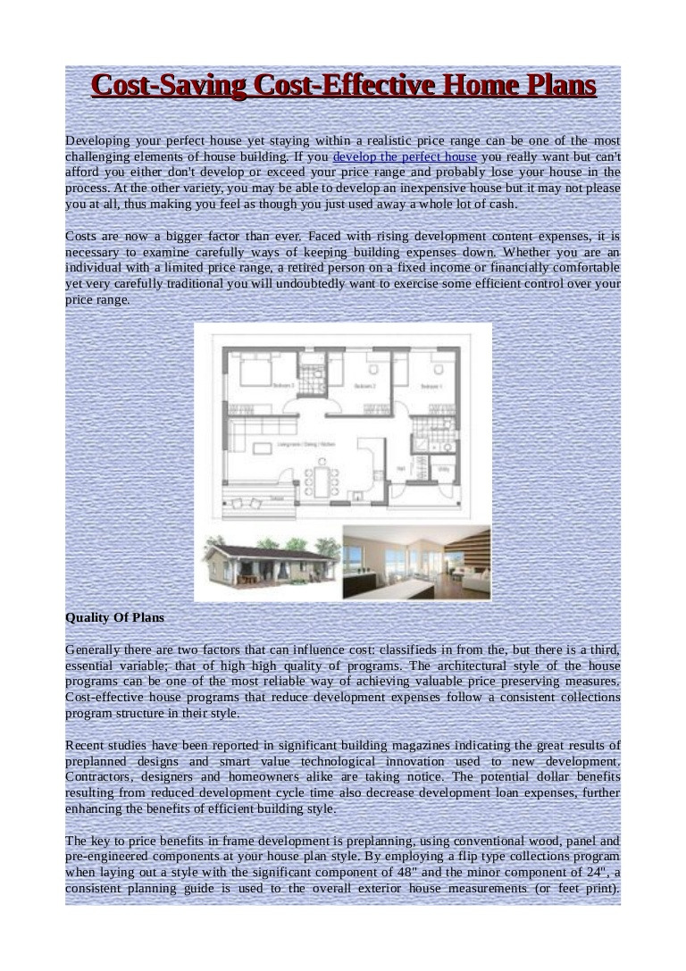 Home Plans and Cost Luxury Cost Saving Cost Effective Home Plans