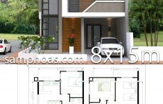 House Design Plans 3d 4 Bedrooms Lovely Home Design Plan 8x15m With 4 Bedrooms