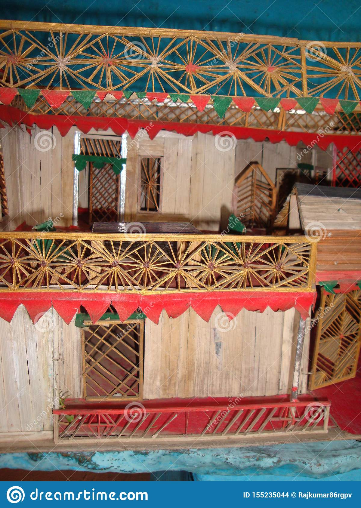 d model house madeup bamboo strips material using fevicol glue some colored papers paints etc showing door