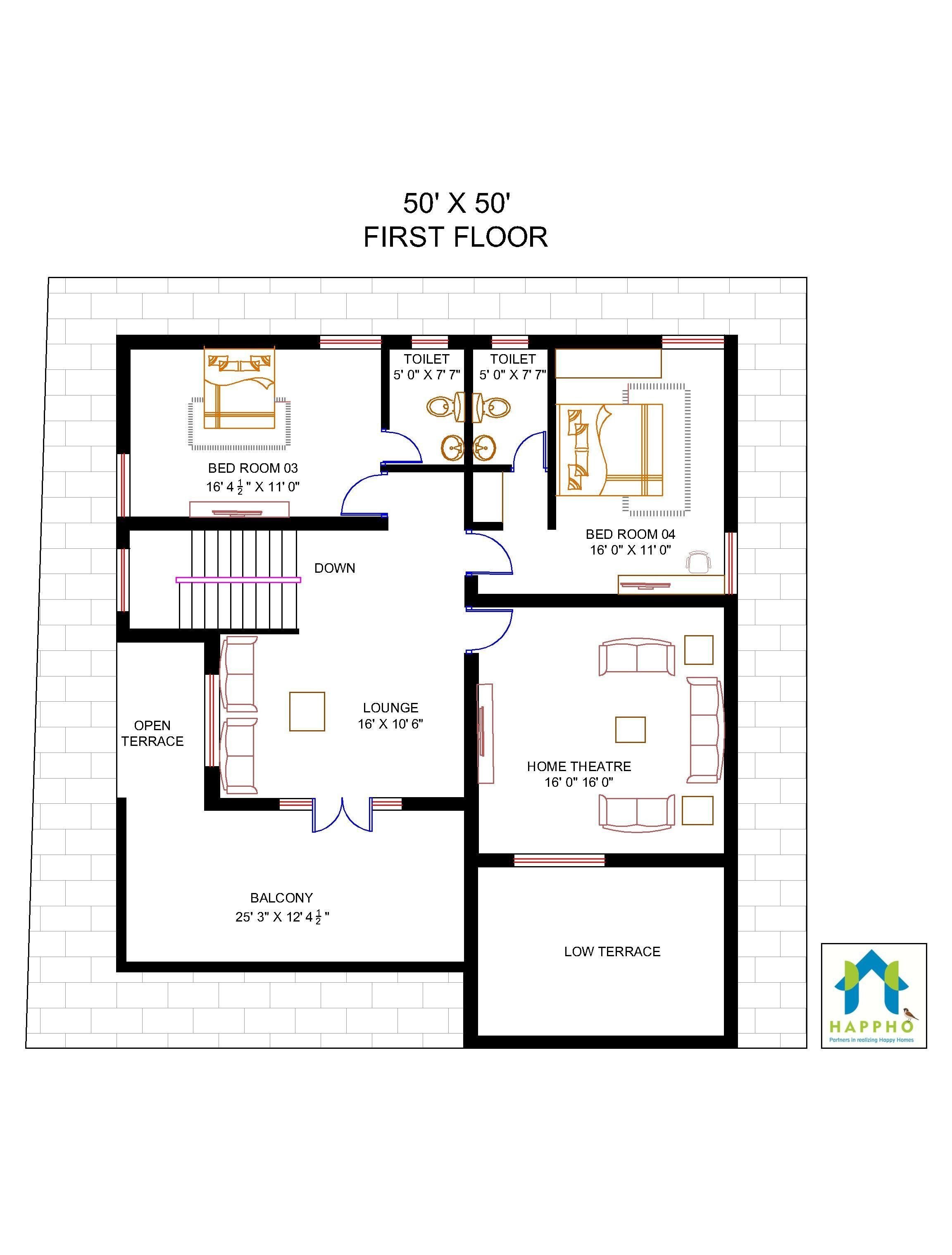 House Plans and Prices to Build Inspirational Floor Plan for 50 X 50 Plot