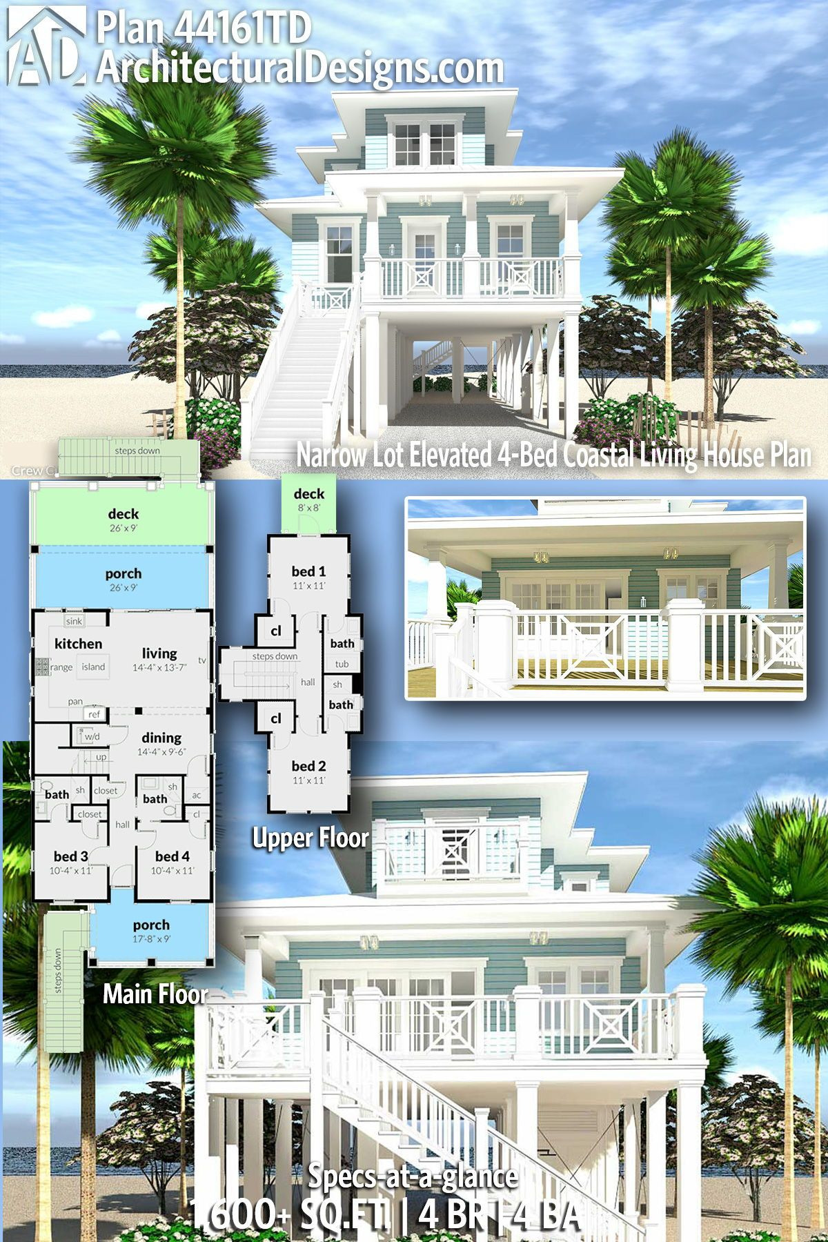 House Plans On Piers Elegant Plan Td Narrow Lot Elevated 4 Bed Coastal Living House
