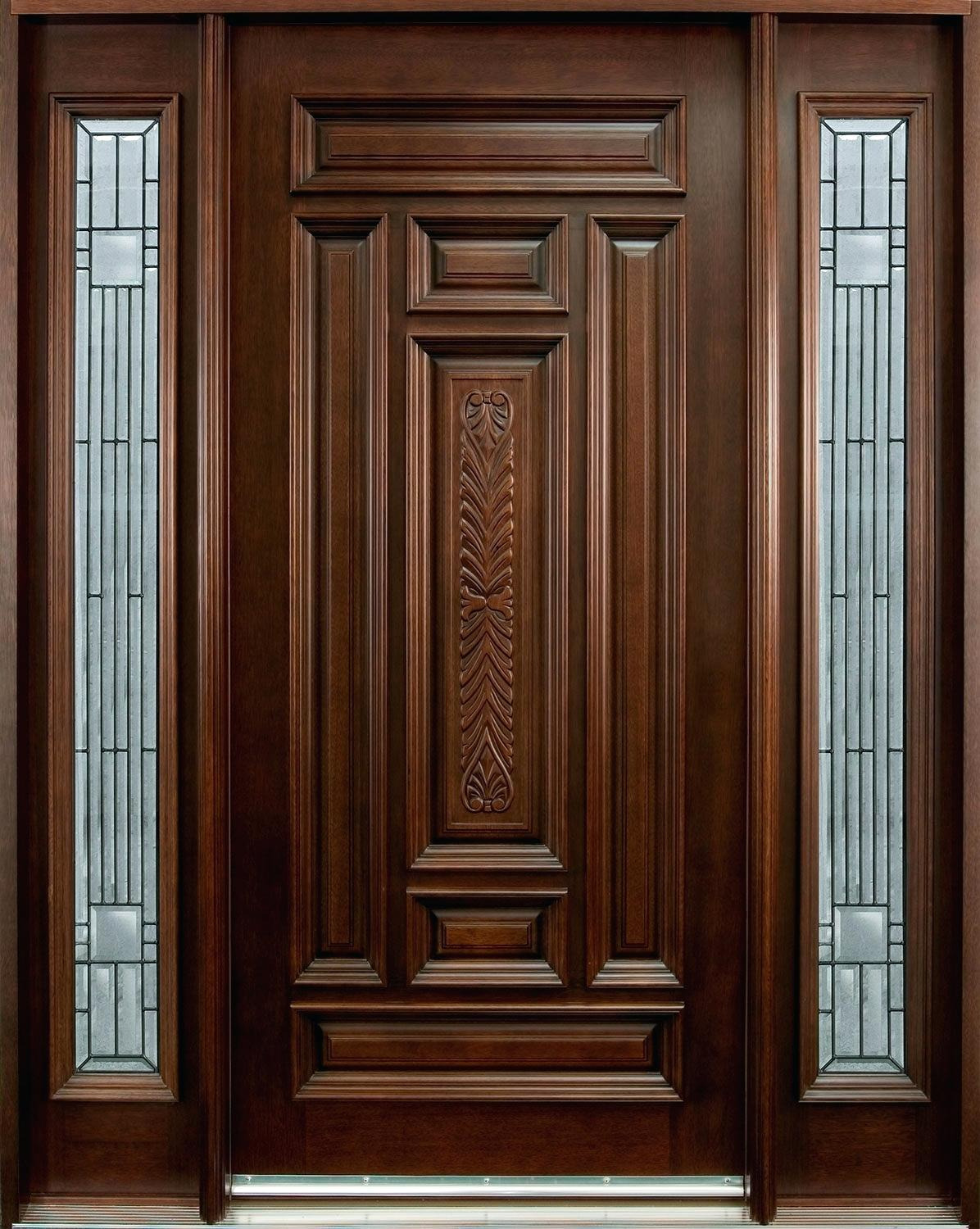 stylish single front door design image main in wood kerala with glass for