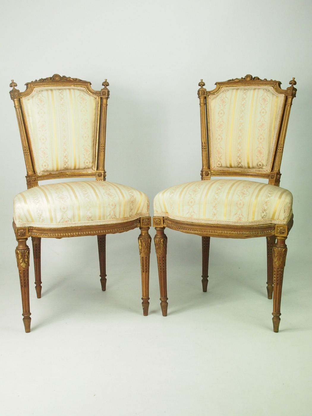 pair of antique giltwood french side chairs in louis xvi style c1870