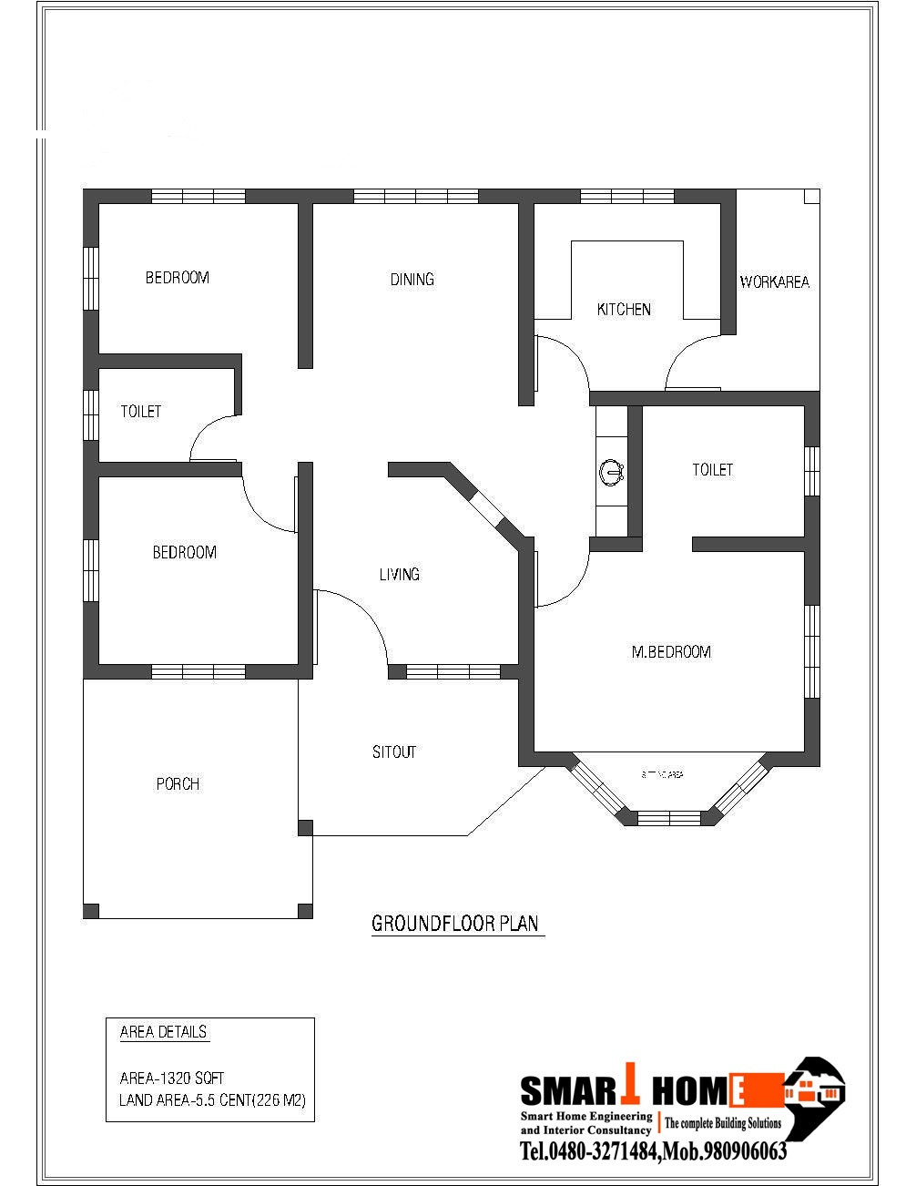 1320 square feet 3bhk low bud kerala home design and plan 2