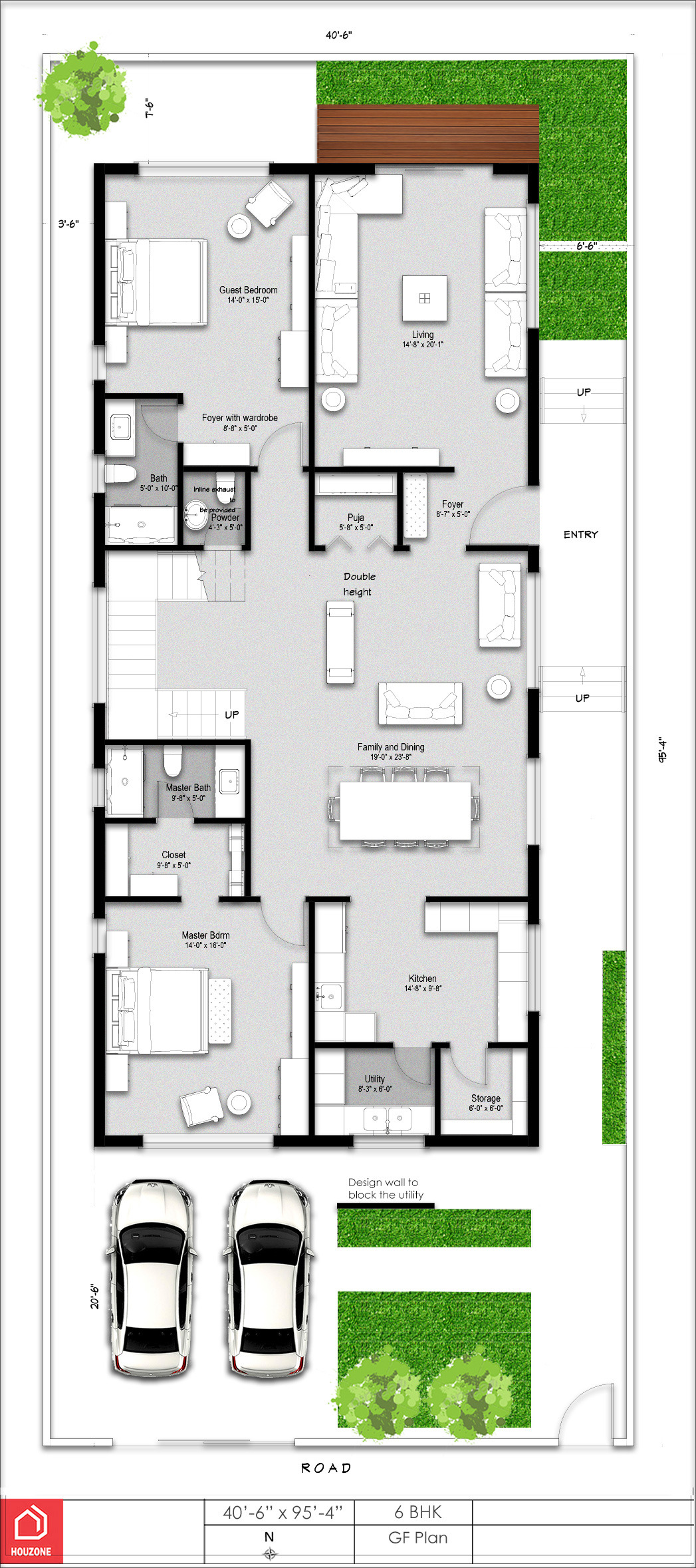 a 6 bedroom luxurious duplex house in 420 sq yards plot