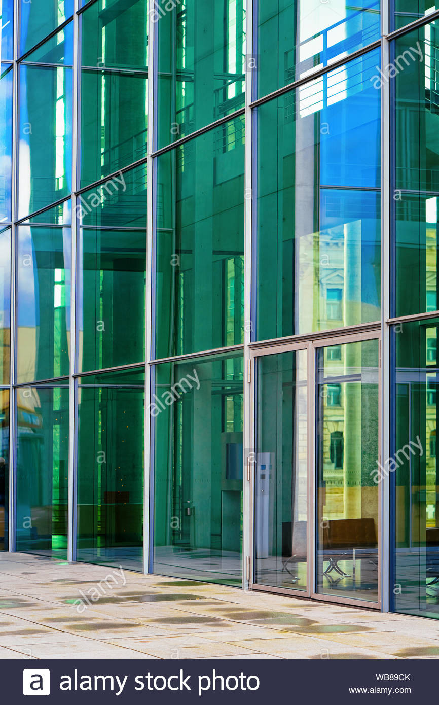 modern glass residential apartment house building architecture of berlin capital of germany german flat and home real estate WB89CK