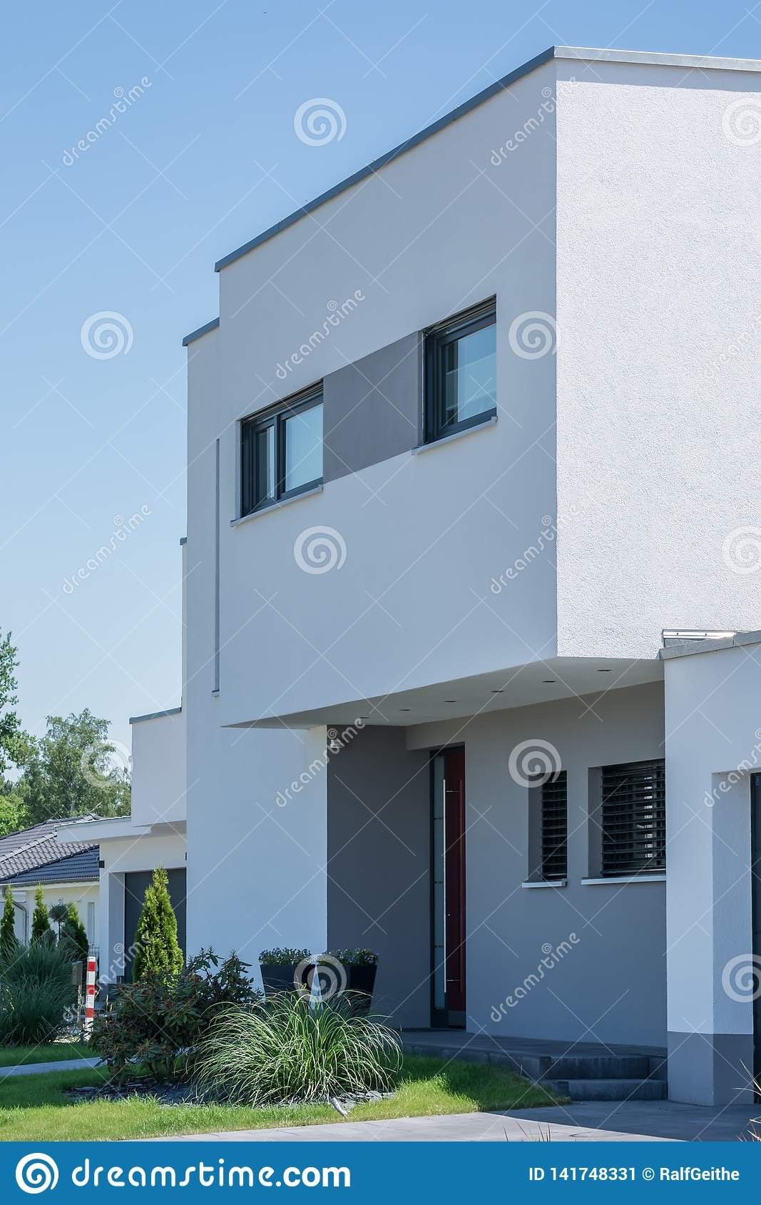 entrance area modern residential building exterior entrance modern newly built house front yard seen public