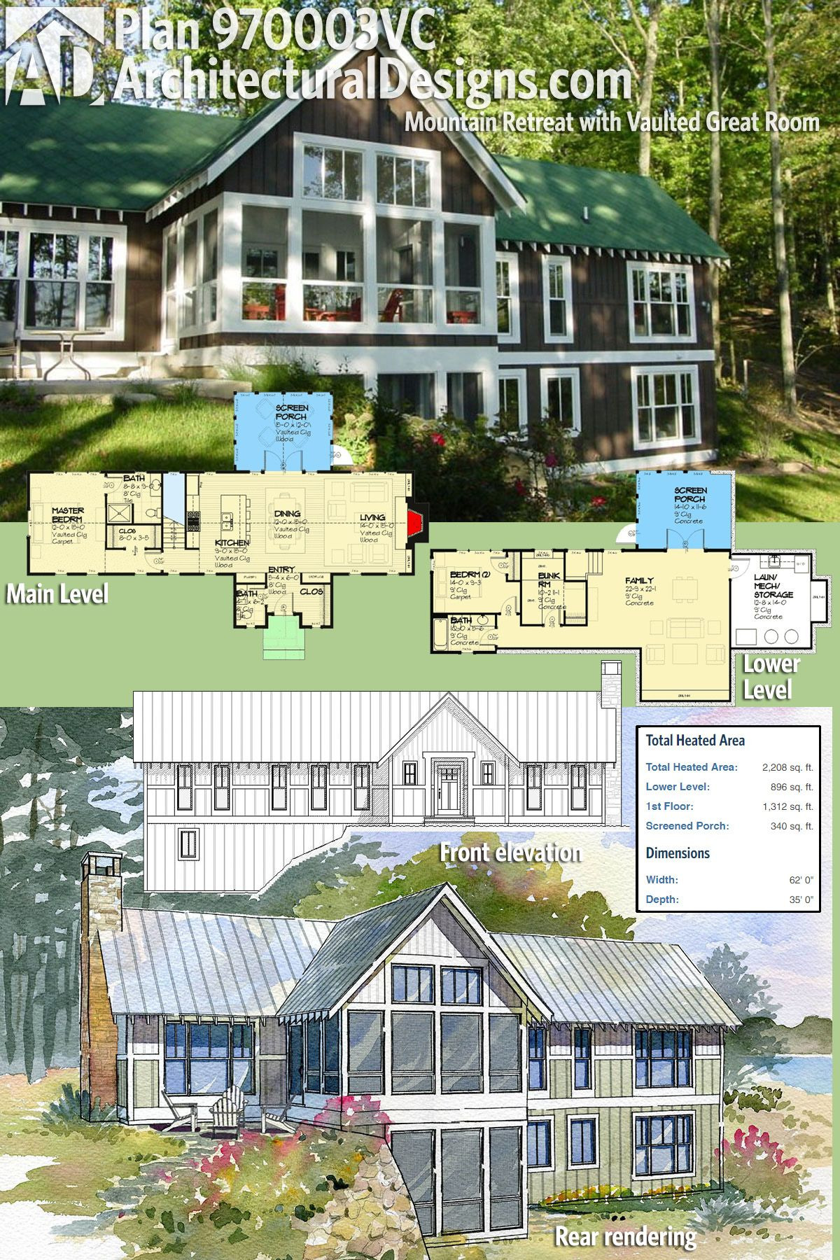 Mountain Vacation House Plans Best Of Plan Vc Mountain Retreat with Vaulted Great Room