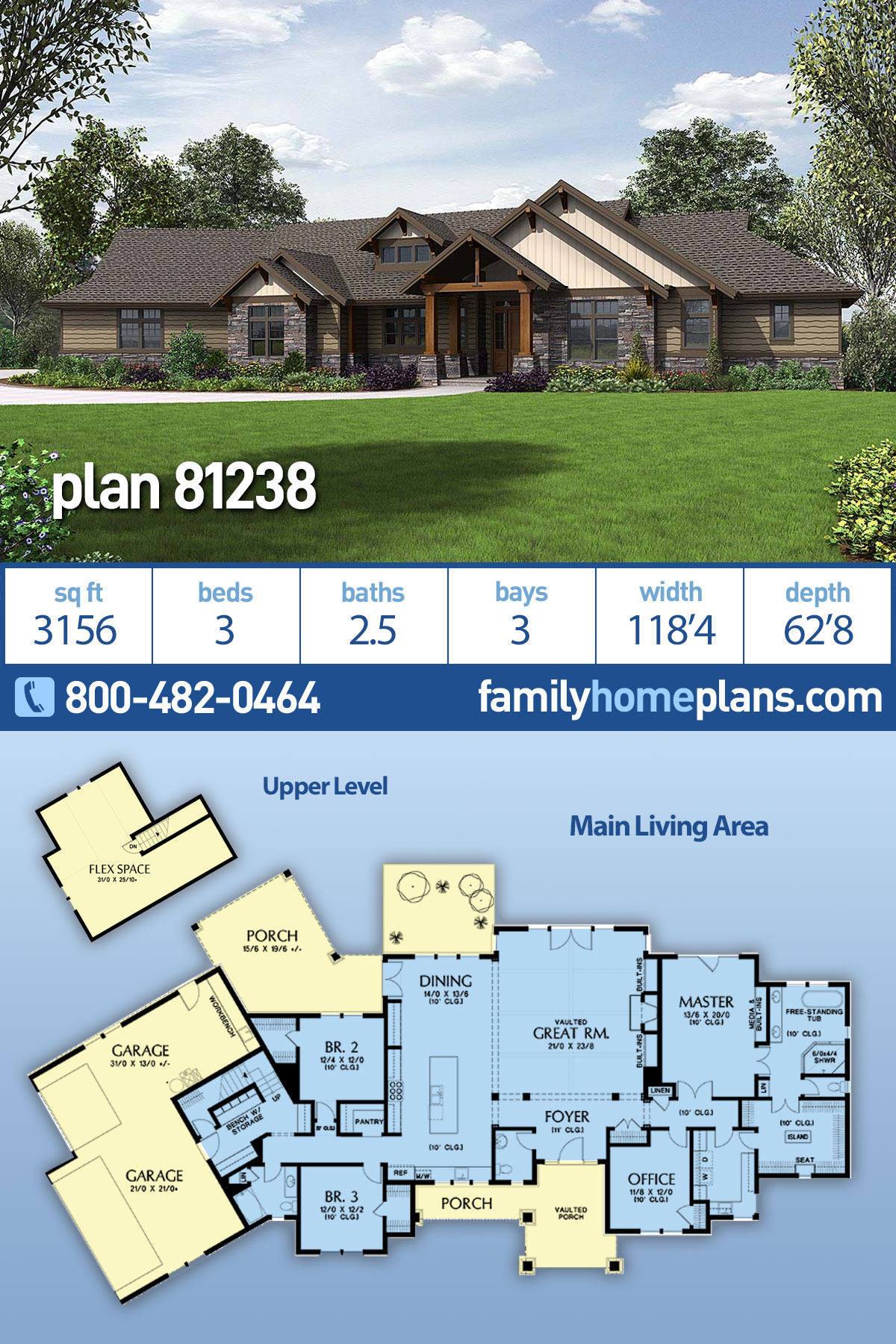 New Craftsman House Plans Unique Craftsman Style House Plan with 3 Bed 3 Bath 3 Car Garage