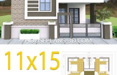 One Floor House Design Plans 3d Elegant House Design 11x15 With 3 Bedrooms Terrace Roof
