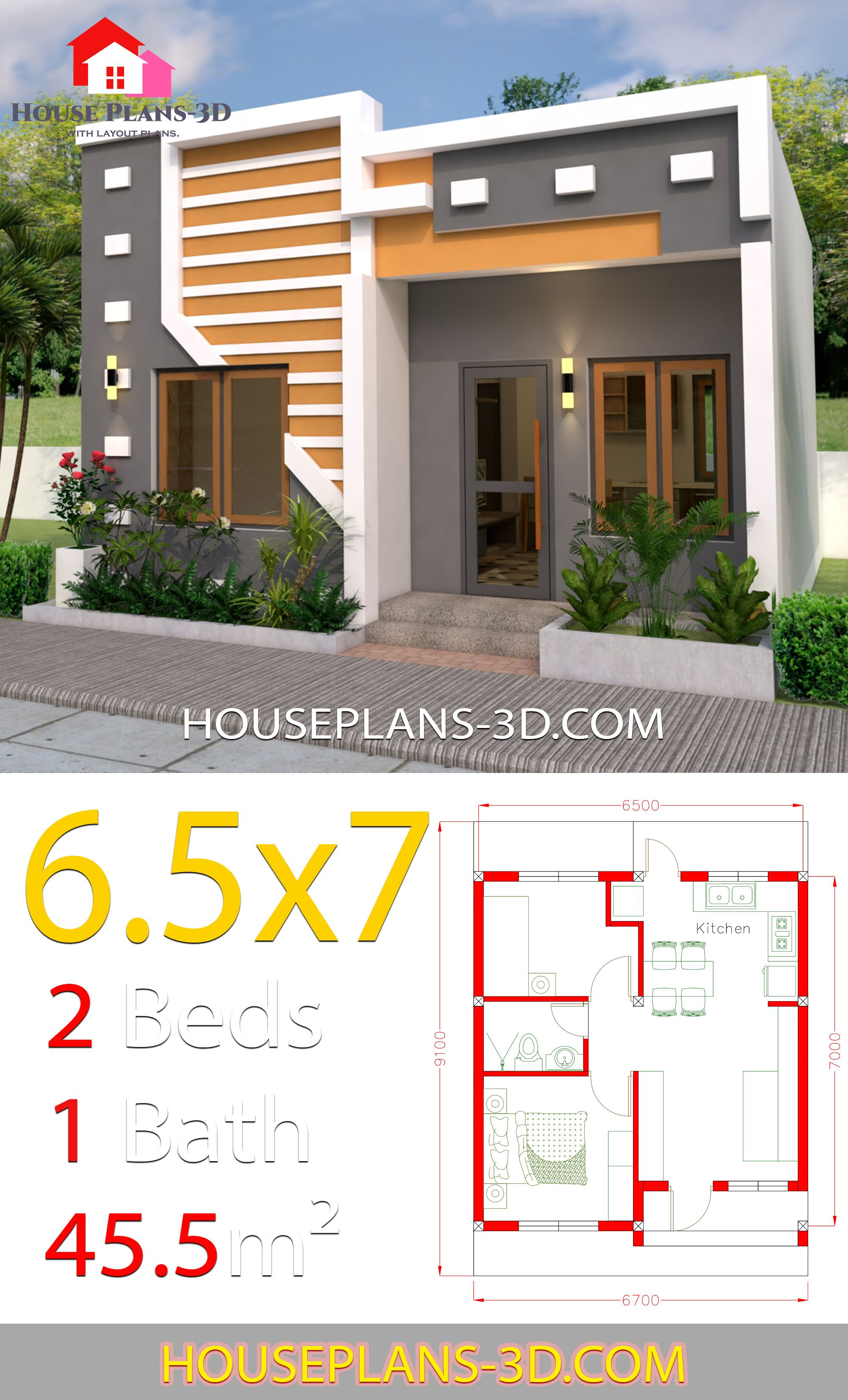 One Floor House Design Plans 3d Luxury Small House Design 6 5x7 with 2 Bedrooms Full Plans