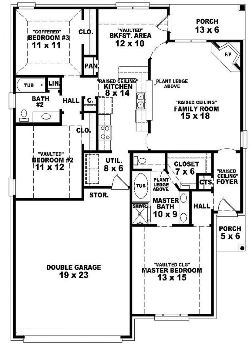 One Story One Bedroom House Plans Fresh E Story 3 Bedroom 2 Bath French Country Style