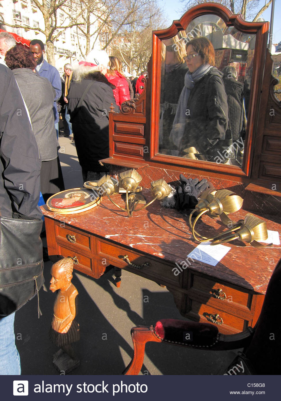paris france people shopping in french flea market brocante antique C158G8