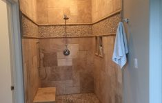 Pictures Of Ceramic Tile Walk In Showers Beautiful Walk In Shower No Door Travertine And Pebble Tile