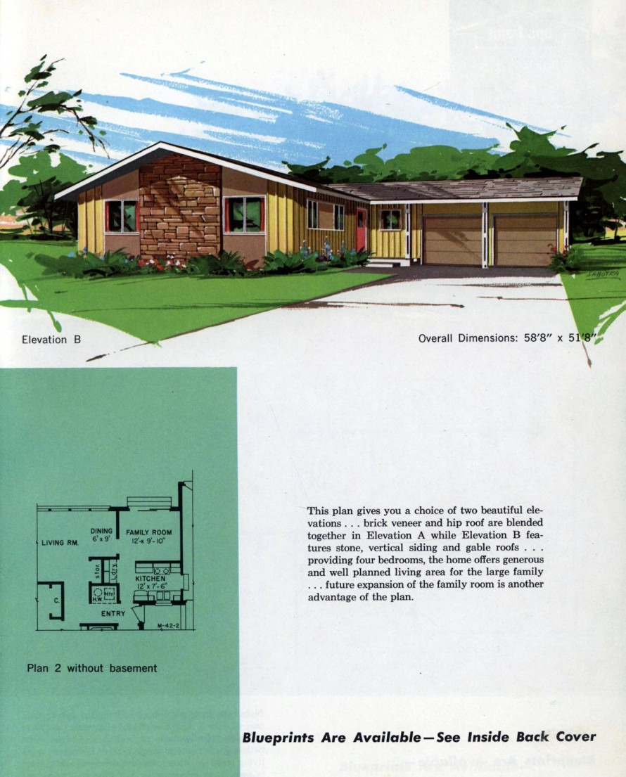 see 125 vintage 60s home plans used to build millions of mid century houses across america