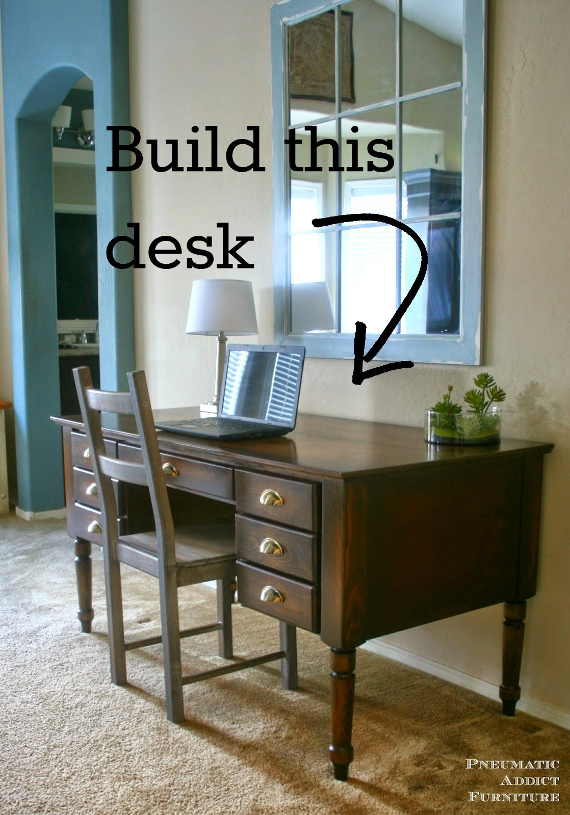tradtitional pottery barn desk knock off tutorial