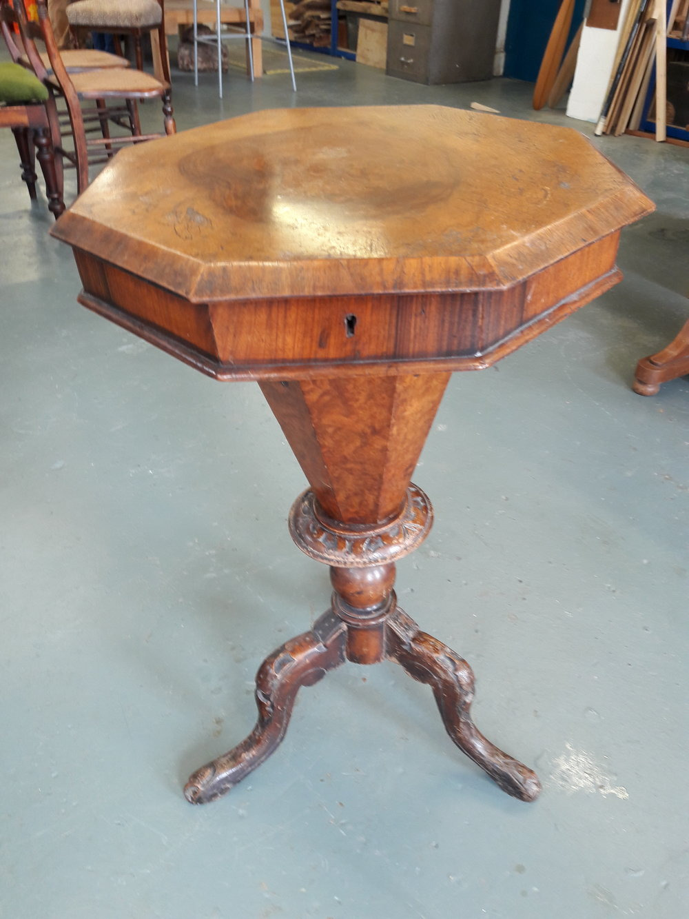Charlotte M Prothero Before Restoration Antique Sewing Table 1