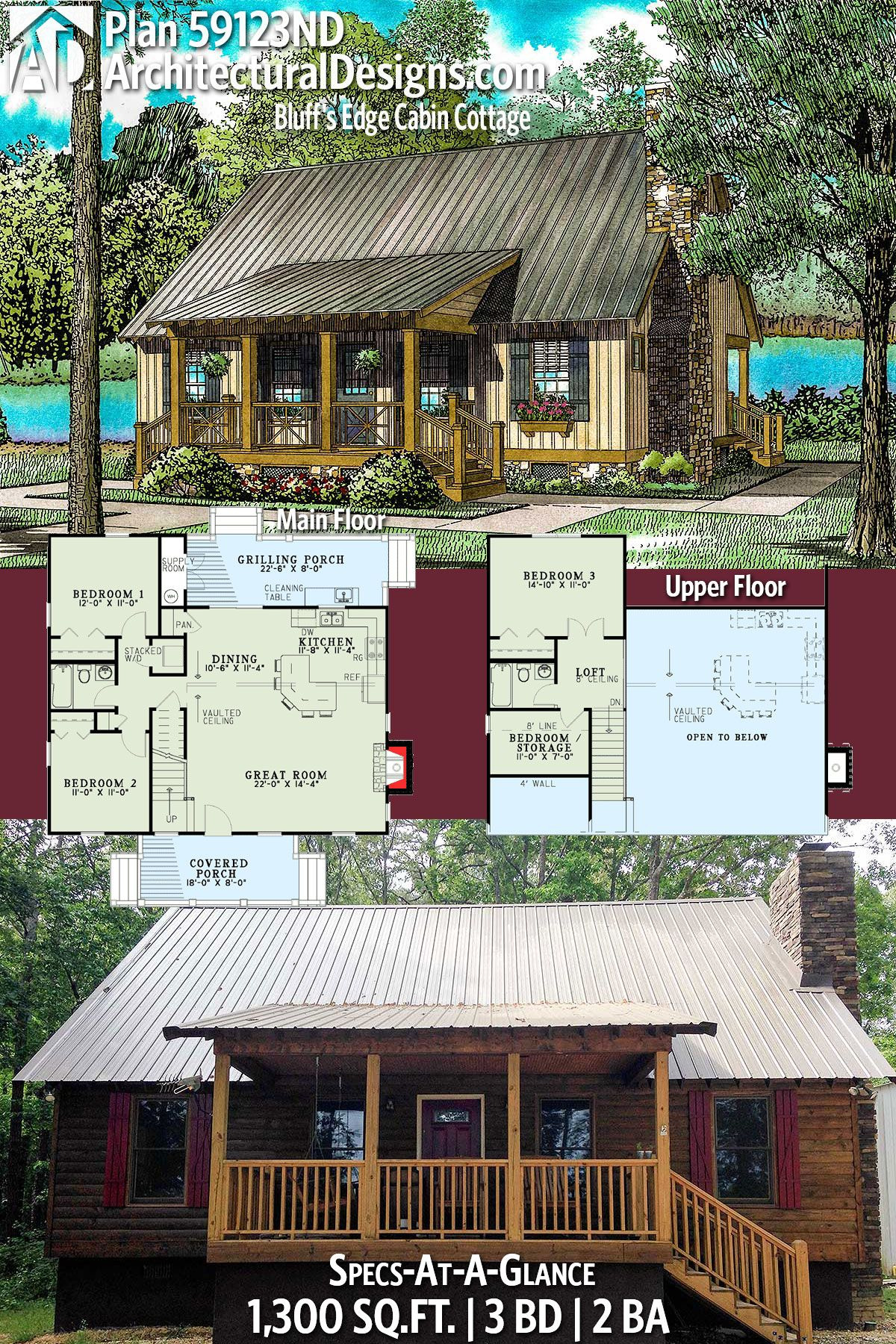 Rustic Cabin House Plans Unique Plan Nd Bluff S Edge Cabin Cottage In 2020