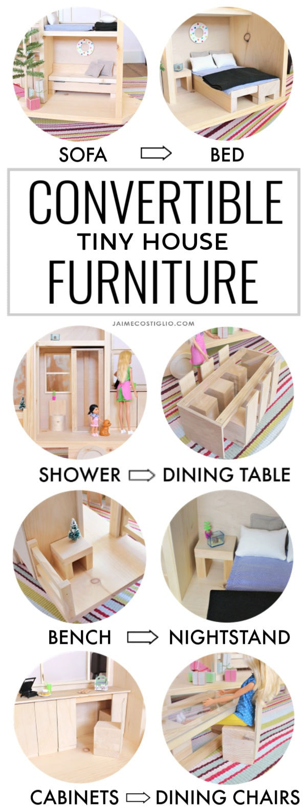 tiny house convertible furniture collage