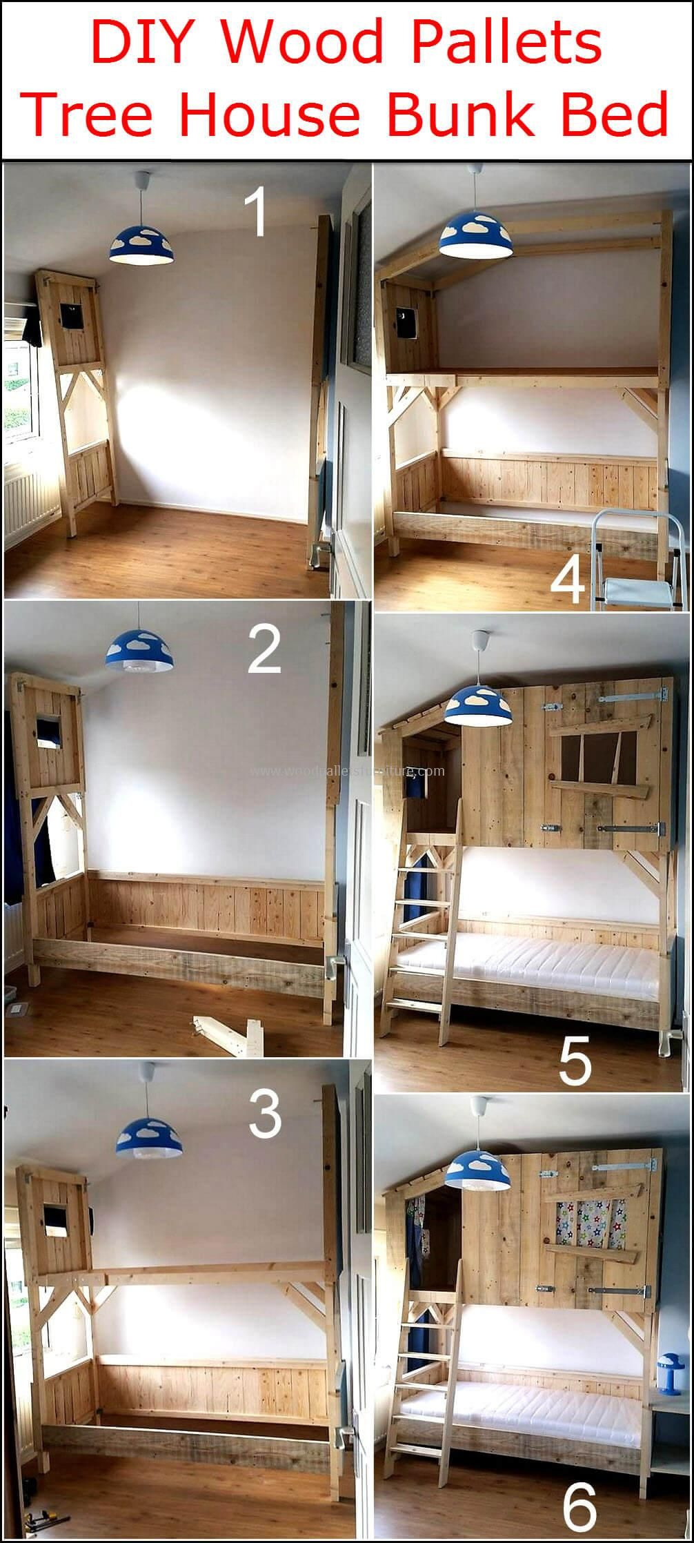 Tree House Bunk Bed Plans New Diy Wood Pallets Tree House Bunk Bed