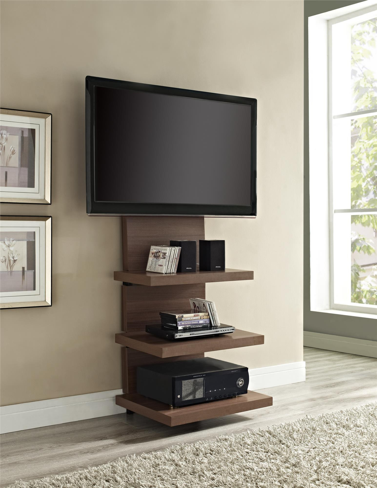 chic wall mount flat tv stands tall wood wall mounted tv stand with shelves and mount wfhufuk
