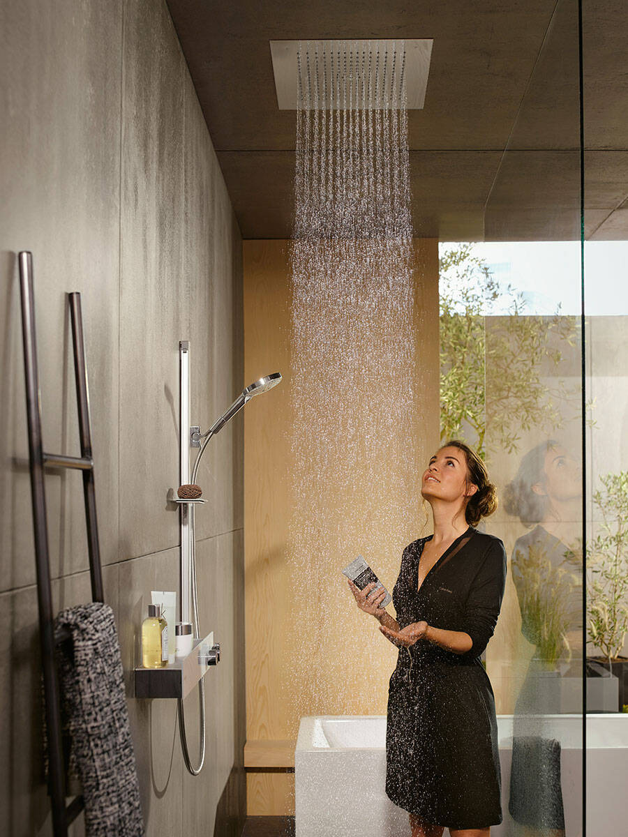 raindance e overhead shower ceiling mounted with woman ambience 3x4