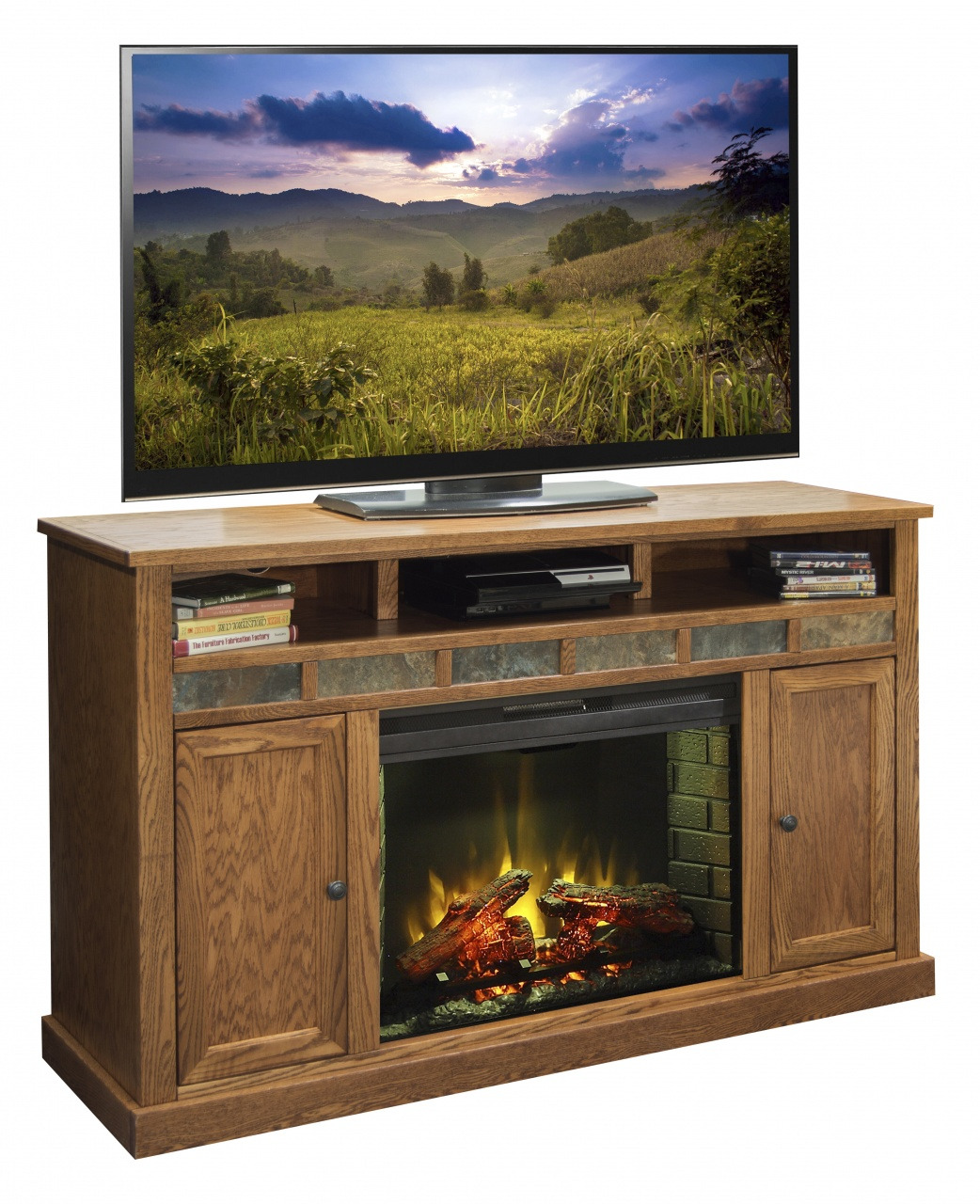 ember hearth electric media fireplace legends furniture oak creek tv stand for tvs up to 70 inches from ember hearth electric media fireplace