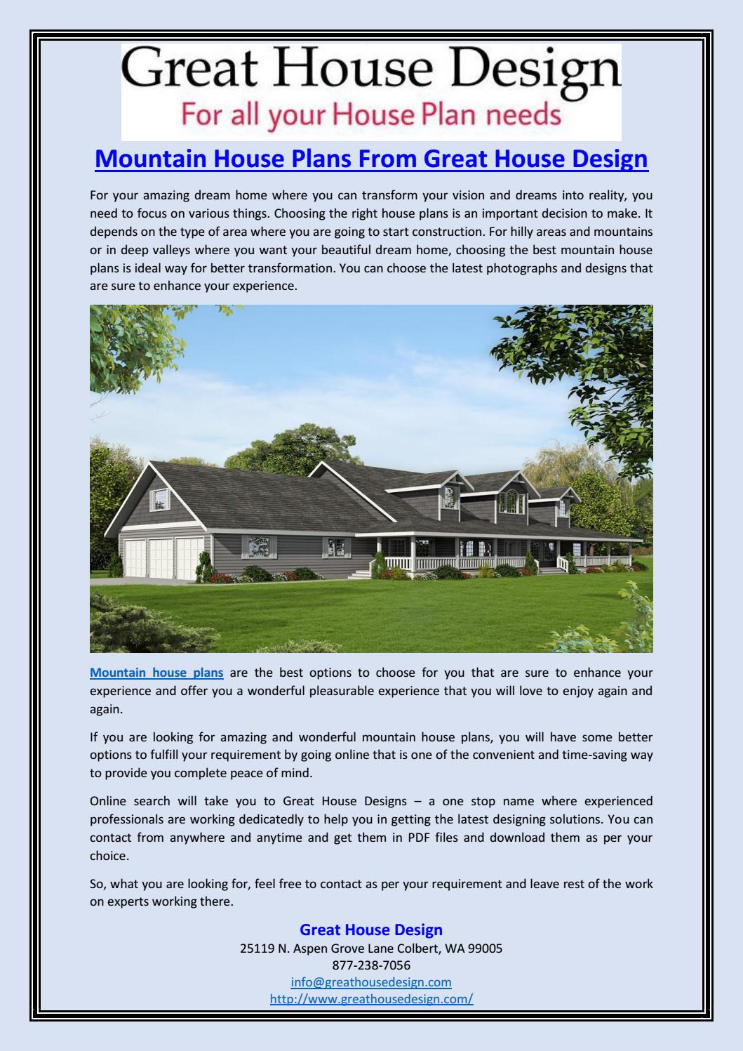 mountain house plans from great hou