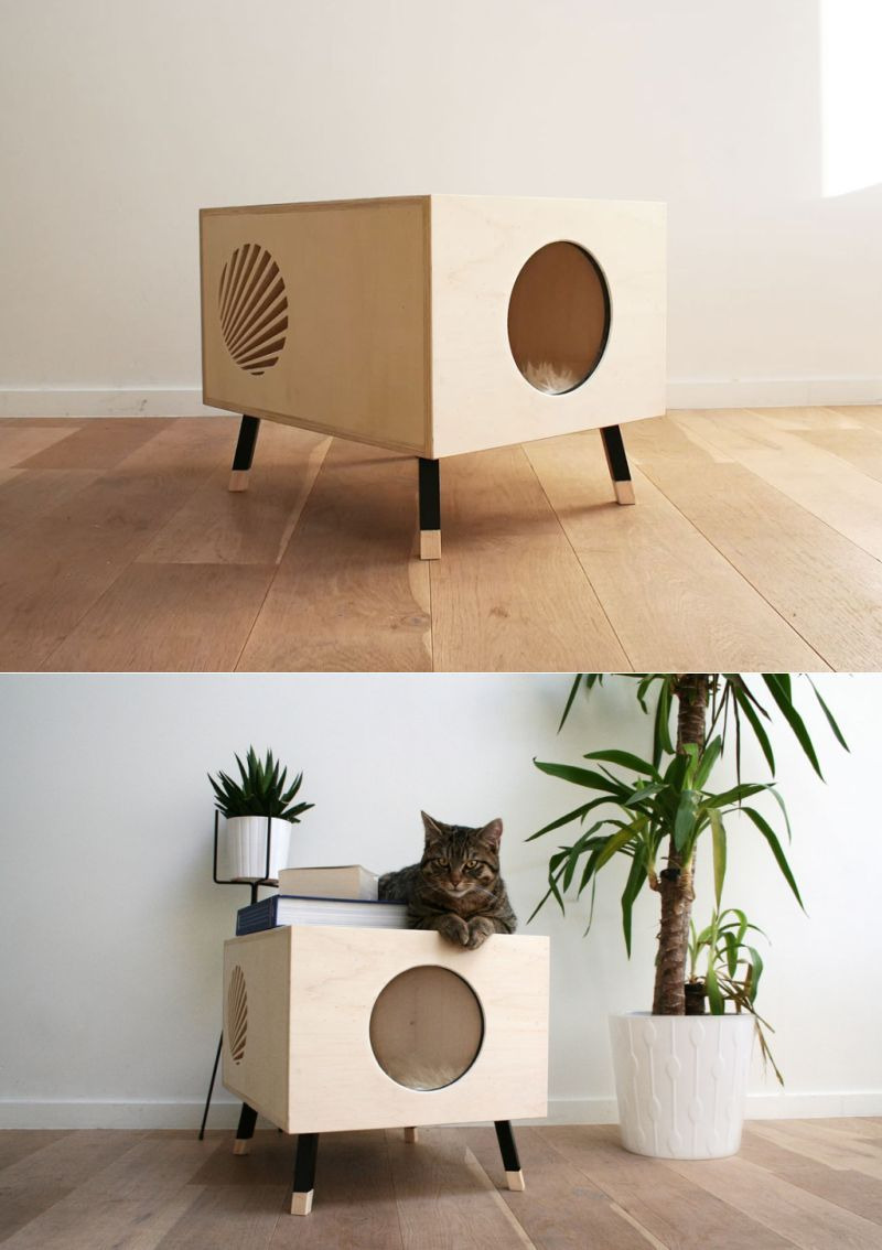 Wooden Cat House Plans Elegant fortable Wooden Cat House Doubles as Side Table