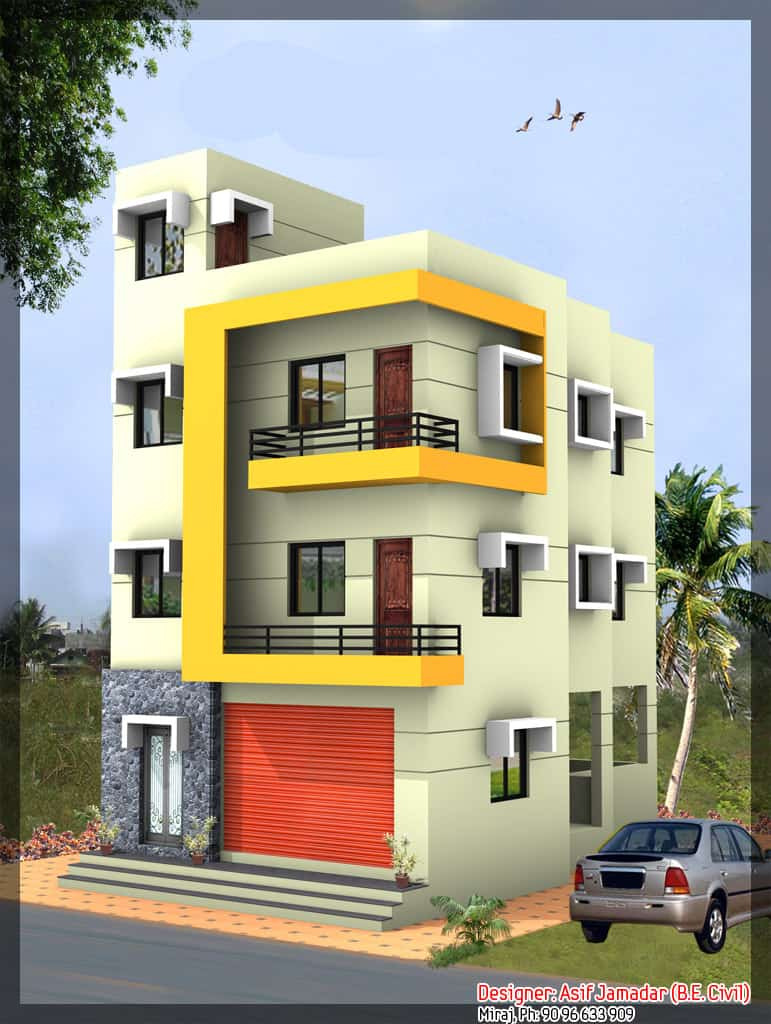 latest 3 story house design at 1890 sq ft