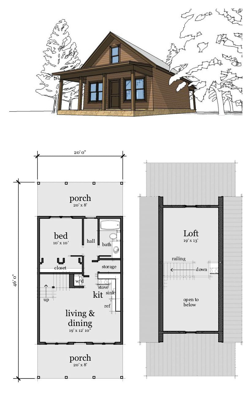 1 Bedroom House Plans with Loft New Cabin Style House Plan with 2 Bed 1 Bath