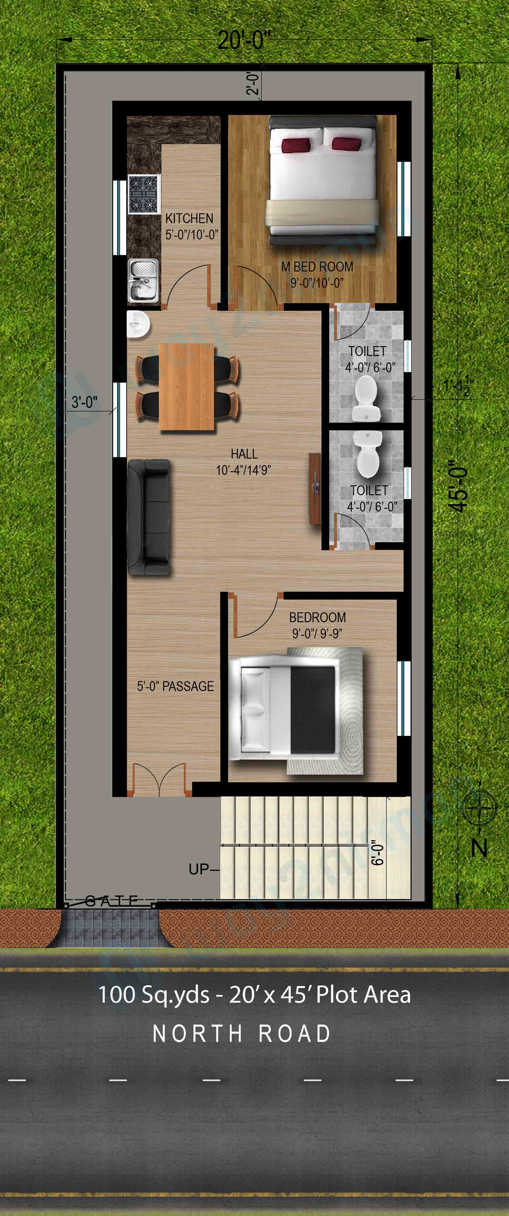 20 by 50 House Designs Awesome 2050 House Plan 2bhk north Facing Autocad Design Pallet