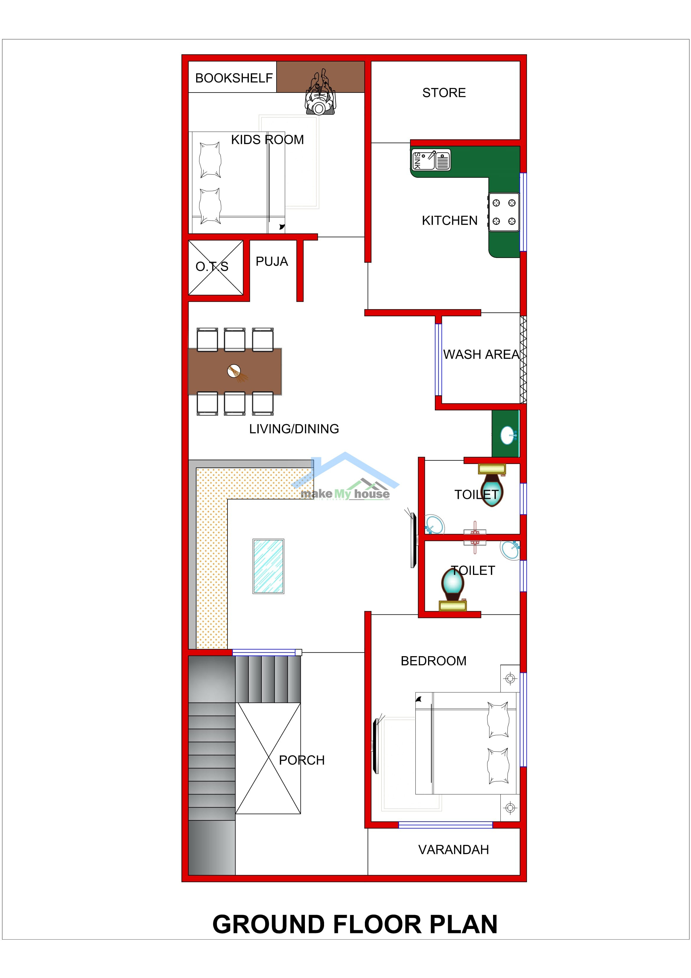 20x50 house design plan north west facing