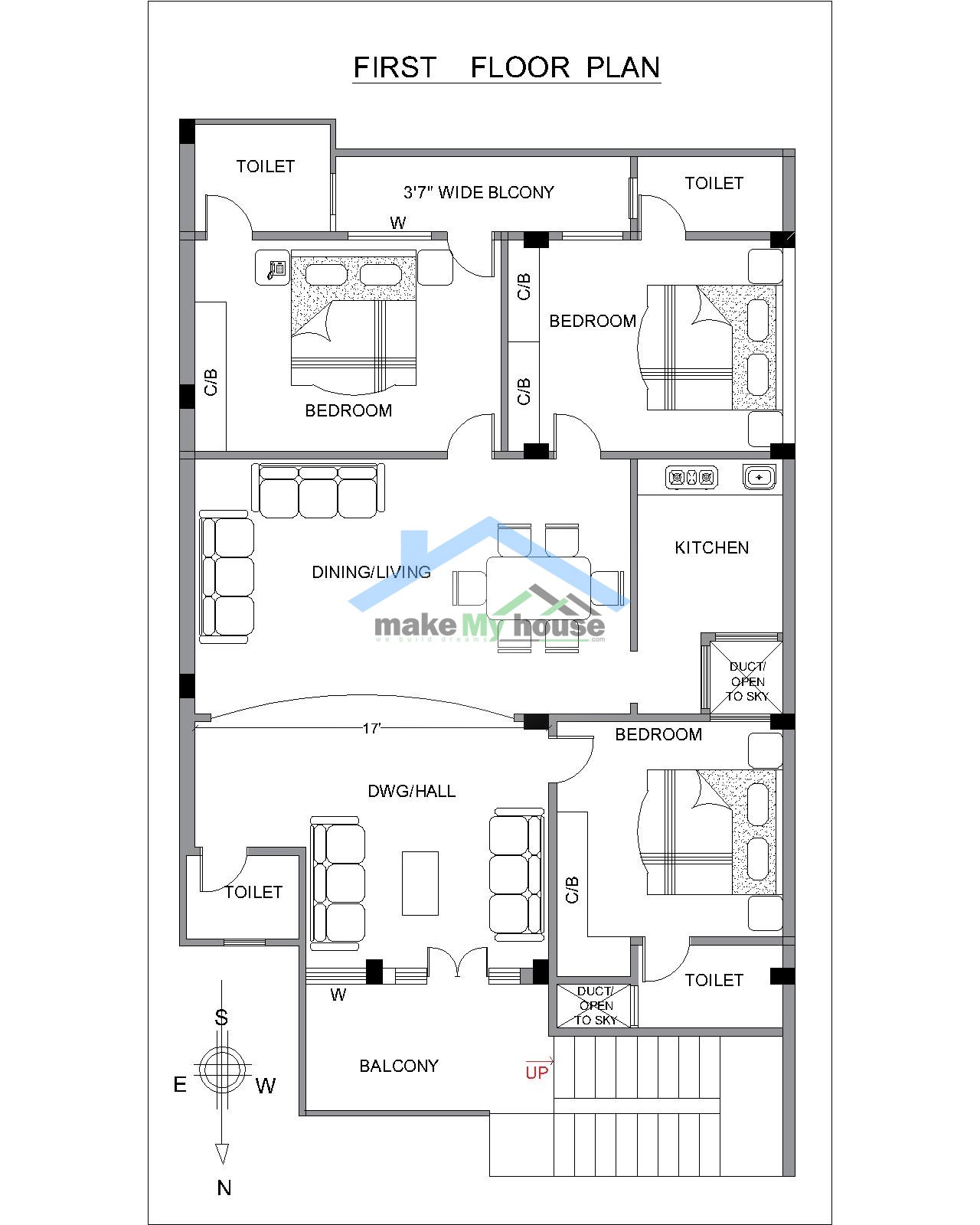 30x60 house design plan north facing